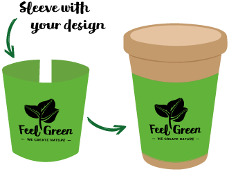 Customised Sleeve - Eco Cup - Plantable Coffee Cup made with seed paper