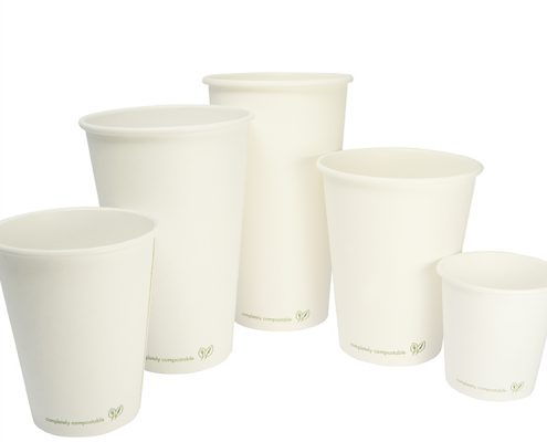 White Print On Compostable Coffee Cups