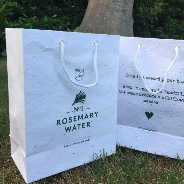 Seeded paper bags for No1 Rosemary Water by Buddy Burst