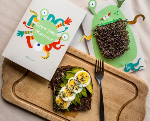 Green Monster Growing Greeting Cards -finished micro greens on toast
