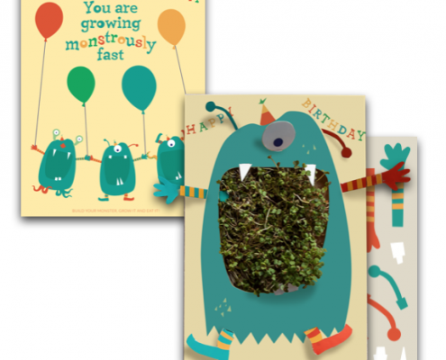Green Monster Growing Greeting Cards
