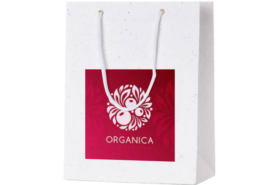 Custom Printed Seed Paper Carrier Bag - Printed with Organica Logo
