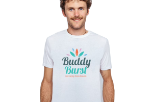 Man wearing white cotton Promotional T-shirt with Buddy Burst Logo